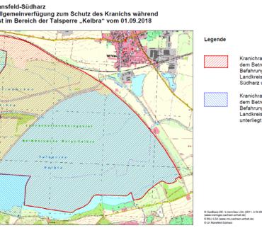 """Allgemeinverfügung zum Schutz des Kranichs während der Winterrast  im Bereich der Talsperre """"Kelbra"""" vom 01.09.2017"""