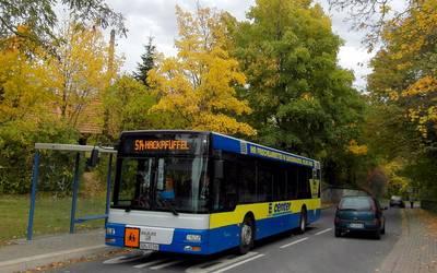 Schulbus an der Bushaltestelle.