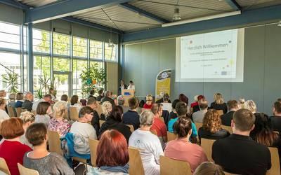 Während der Eröffnungsveranstaltung der Inkusionswochen 2019 im Landkreis Mansfeld-Südharz